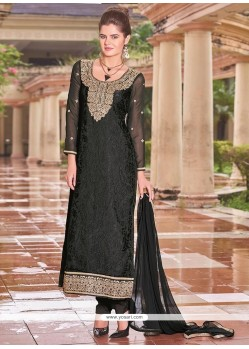 Glitzy Black Lace Work Brasso Churidar Designer Suit