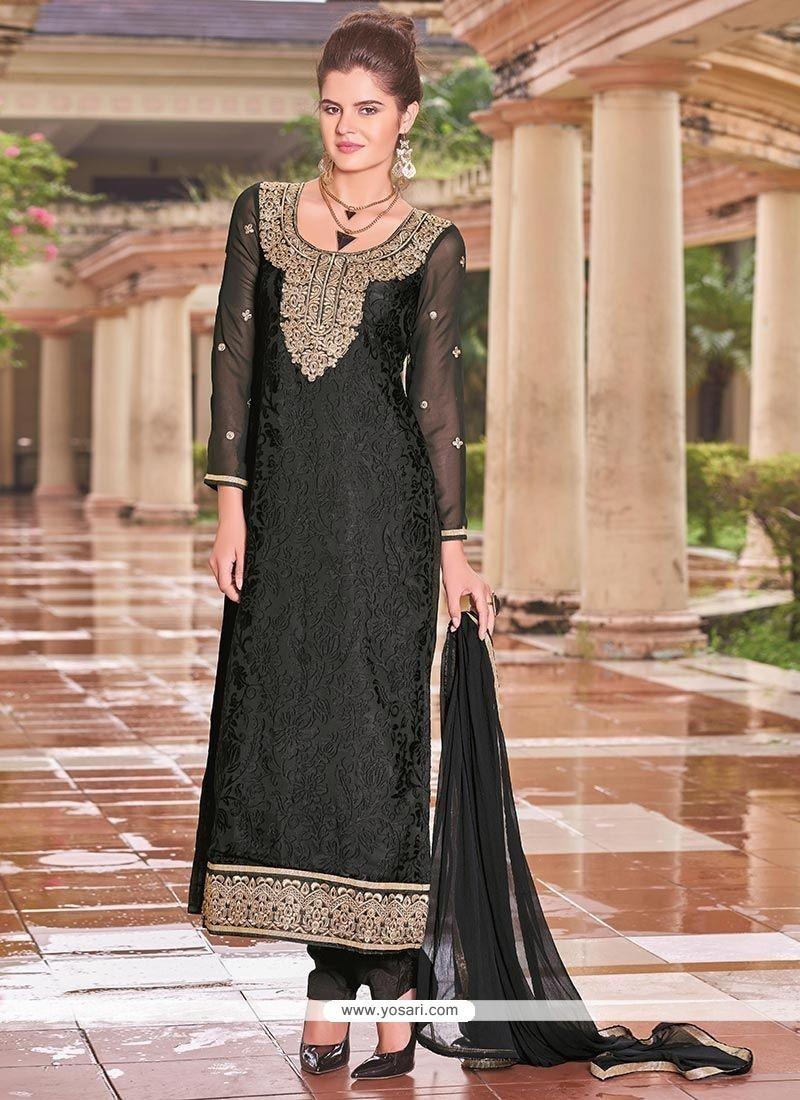 Glitzy Black Lace Work Brasso Churidar Designer Suit
