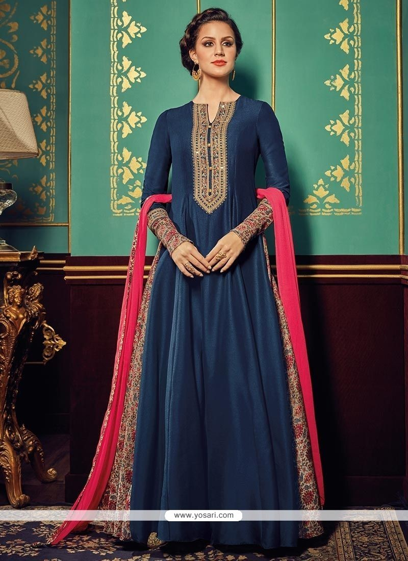 Simplistic Navy Blue Resham Work Floor Length Anarkali Suit