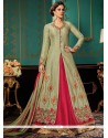 Mod Jacquard Silk Green And Hot Pink Floor Length Designer Suit
