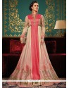 Modest Net Zari Work Floor Length Designer Suit