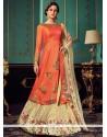 Delectable Resham Work Art Silk Orange And Cream Floor Length Designer Suit