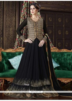 Imperial Faux Georgette Black Embroidered Work Floor Length Anarkali Suit