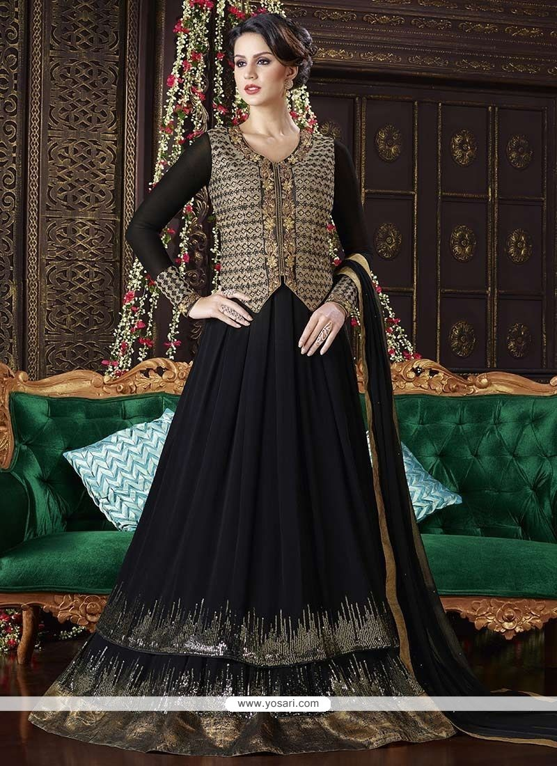70c980b4a2 Imperial Faux Georgette Black Embroidered Work Floor Length Anarkali Suit