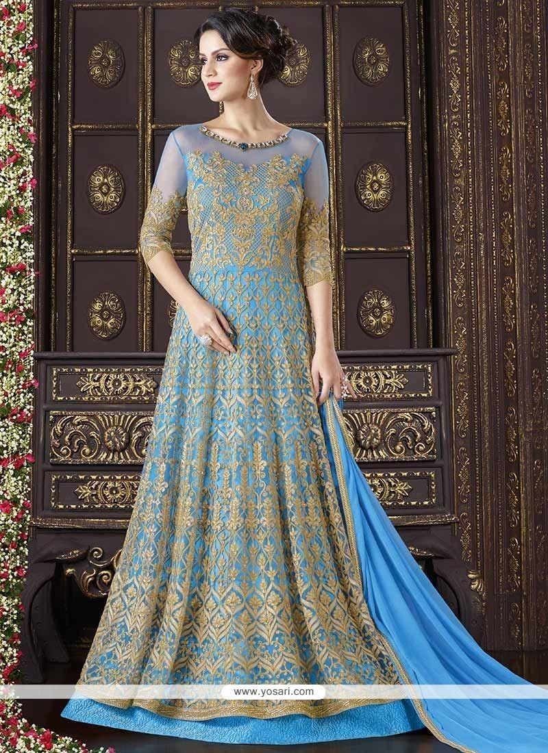 Masterly Embroidered Work Net Floor Length Anarkali Suit