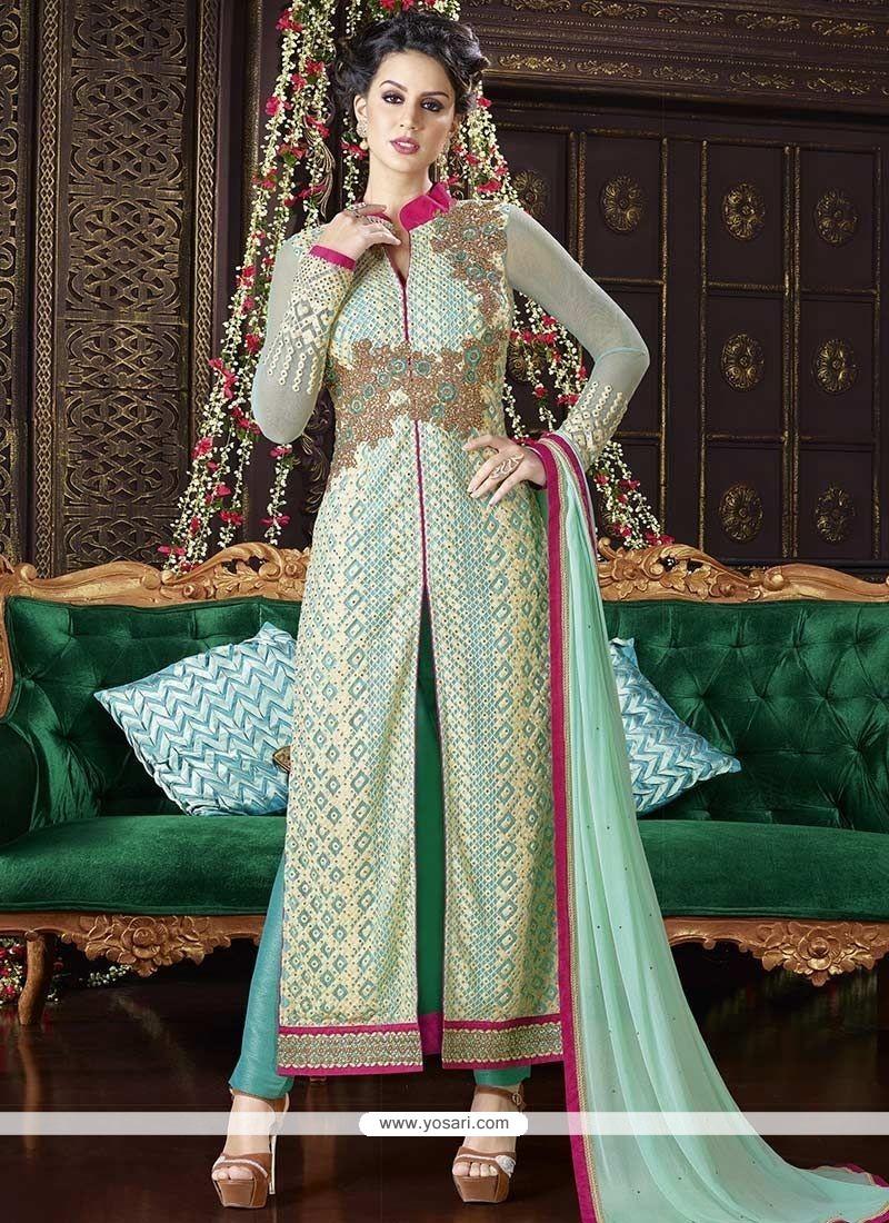 Prepossessing Sea Green Resham Work Designer Suit
