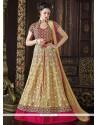 Pristine Lace Work Net Beige Floor Length Anarkali Suit