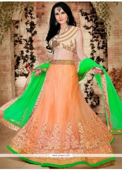 Alluring Green And Orange Lace Work Lehenga Choli