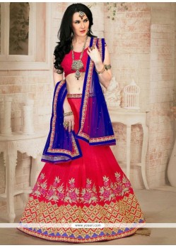 Gilded Blue And Red Lehenga Choli