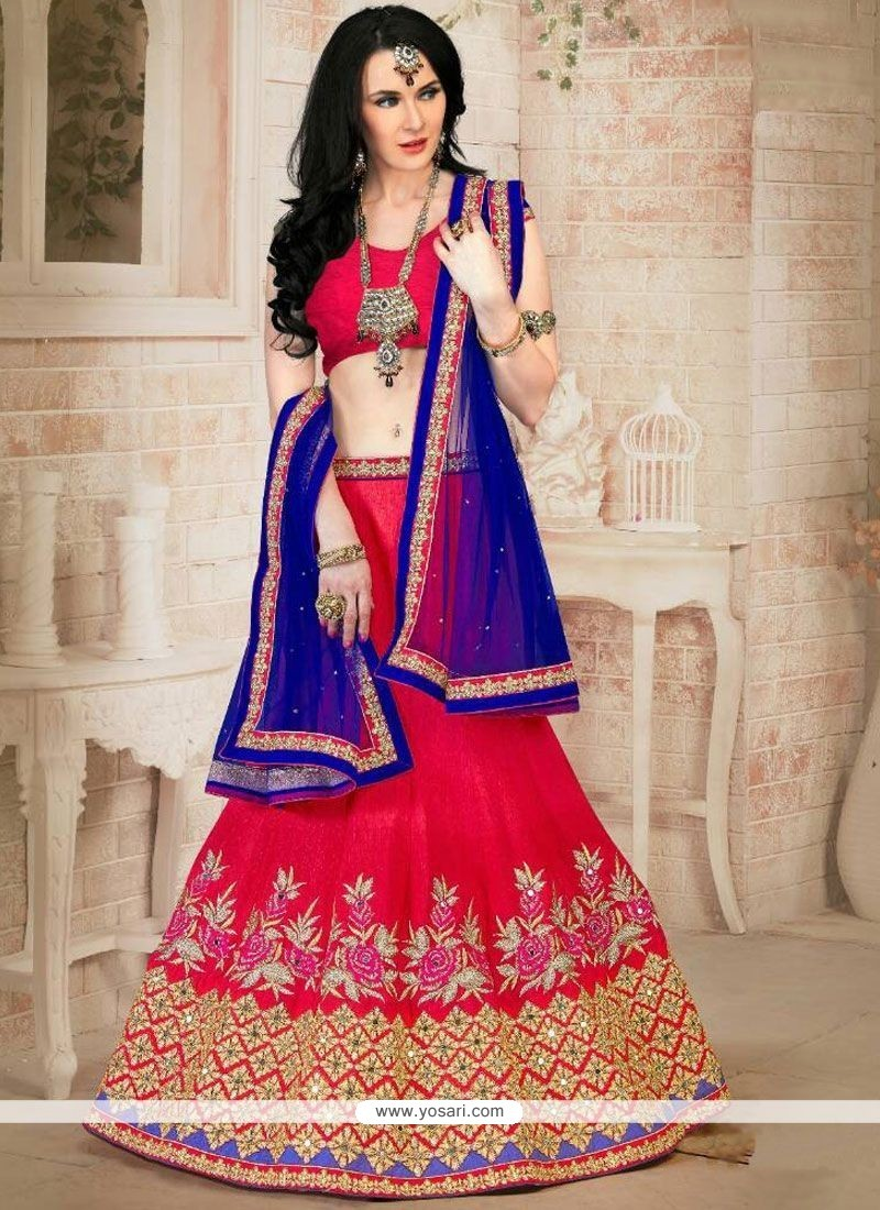 Gilded Blue And Red Lehenga Choli