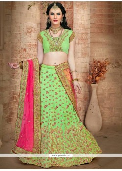 Stylish Green Embroidered Work Lehenga Choli