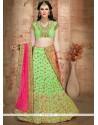 Stylish Green Embroidered Work Lehenga Choli