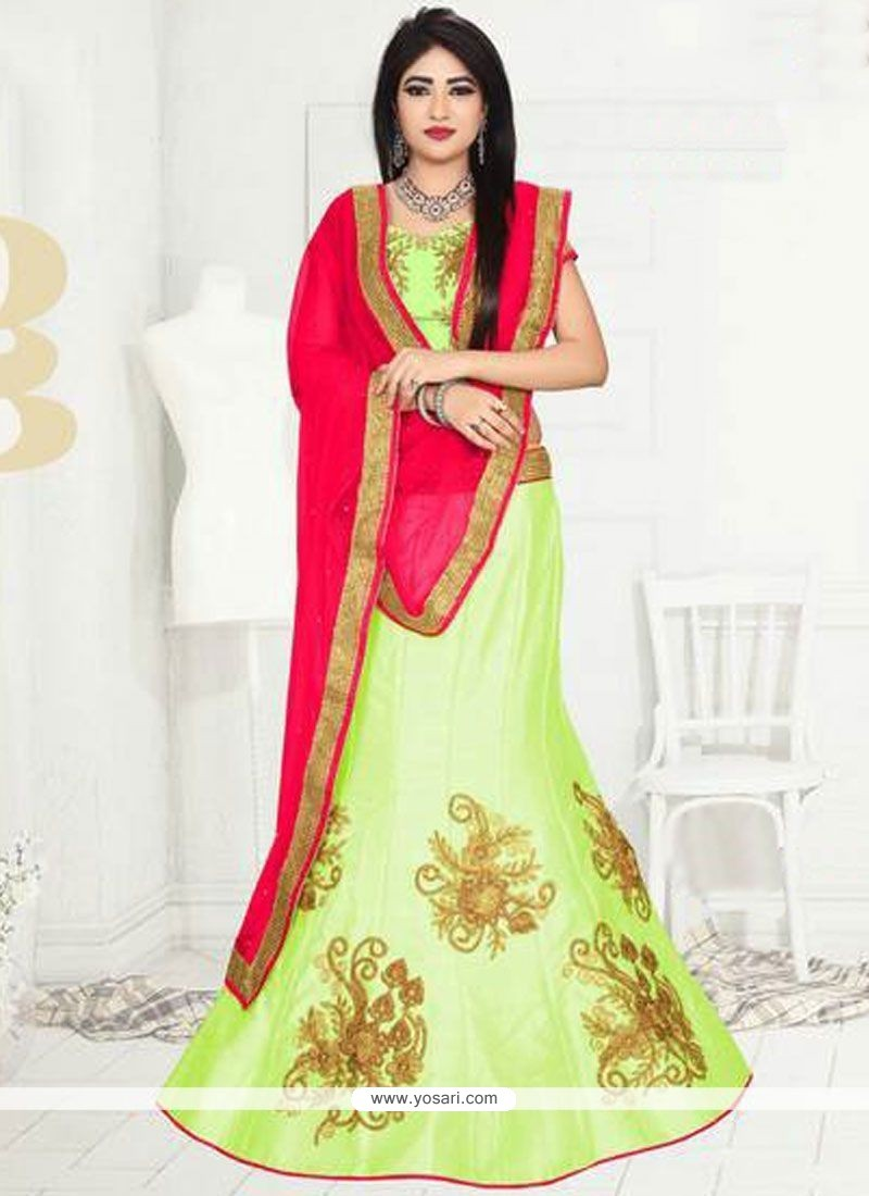 Engrossing Art Silk Lace Work Lehenga Choli