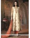 Scintillating Embroidered Work Cotton Churidar Designer Suit