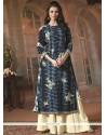Monumental Print Work Blue Cotton Designer Palazzo Suit