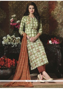 Imperial Green Print Work Cotton Pant Style Suit