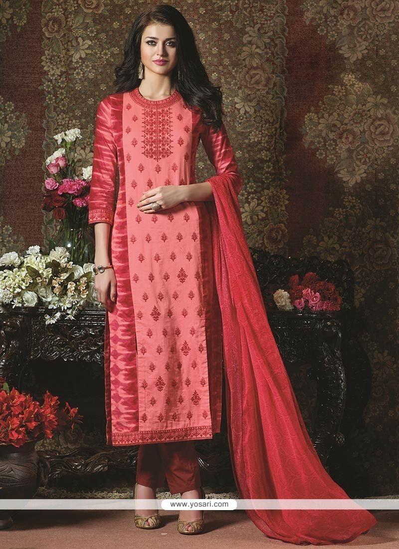 Masterly Embroidered Work Cotton Churidar Designer Suit