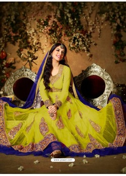 Blue And Green Net Anarkali Suit