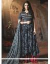 Sensational Black And Blue Cotton Designer Palazzo Suit