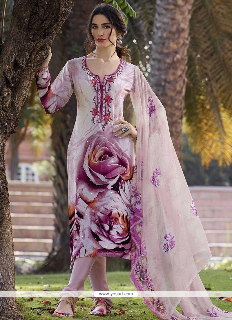 Pink Faux Crepe Churidar Designer Suit