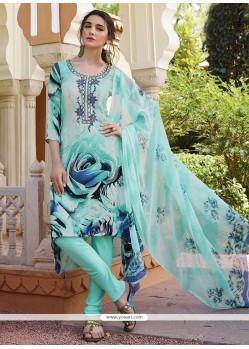 Savory Blue Churidar Designer Suit