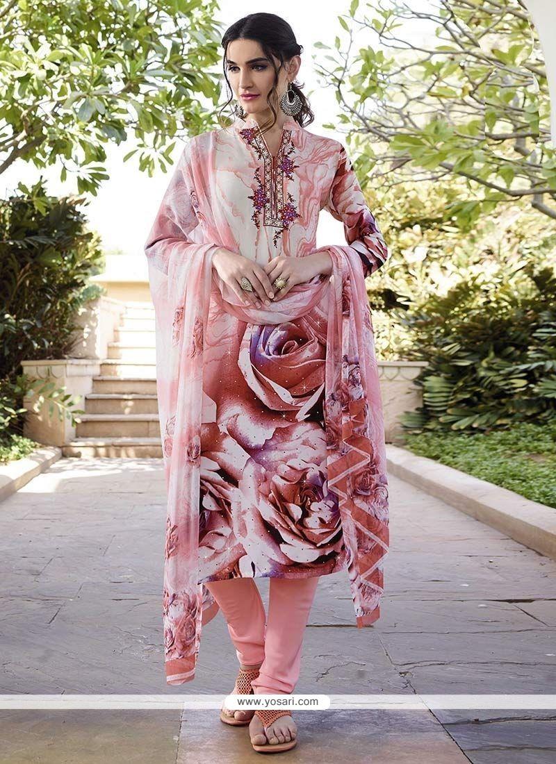 Stunning Print Work Peach Faux Crepe Churidar Designer Suit