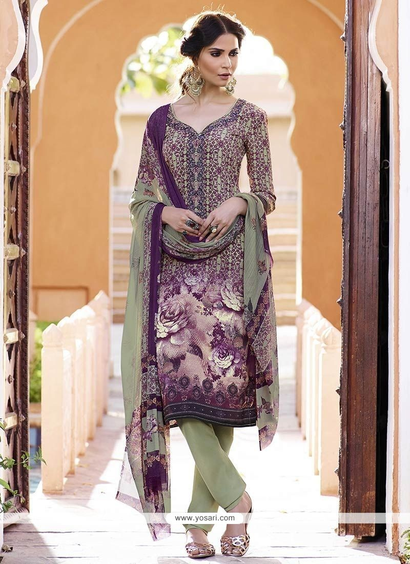 Glitzy Print Work Faux Crepe Churidar Designer Suit