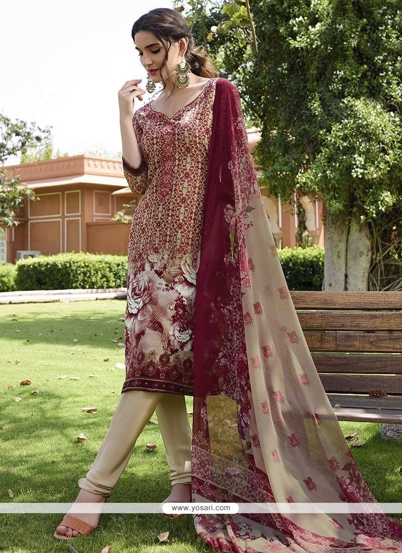 Titillating Faux Crepe Churidar Designer Suit