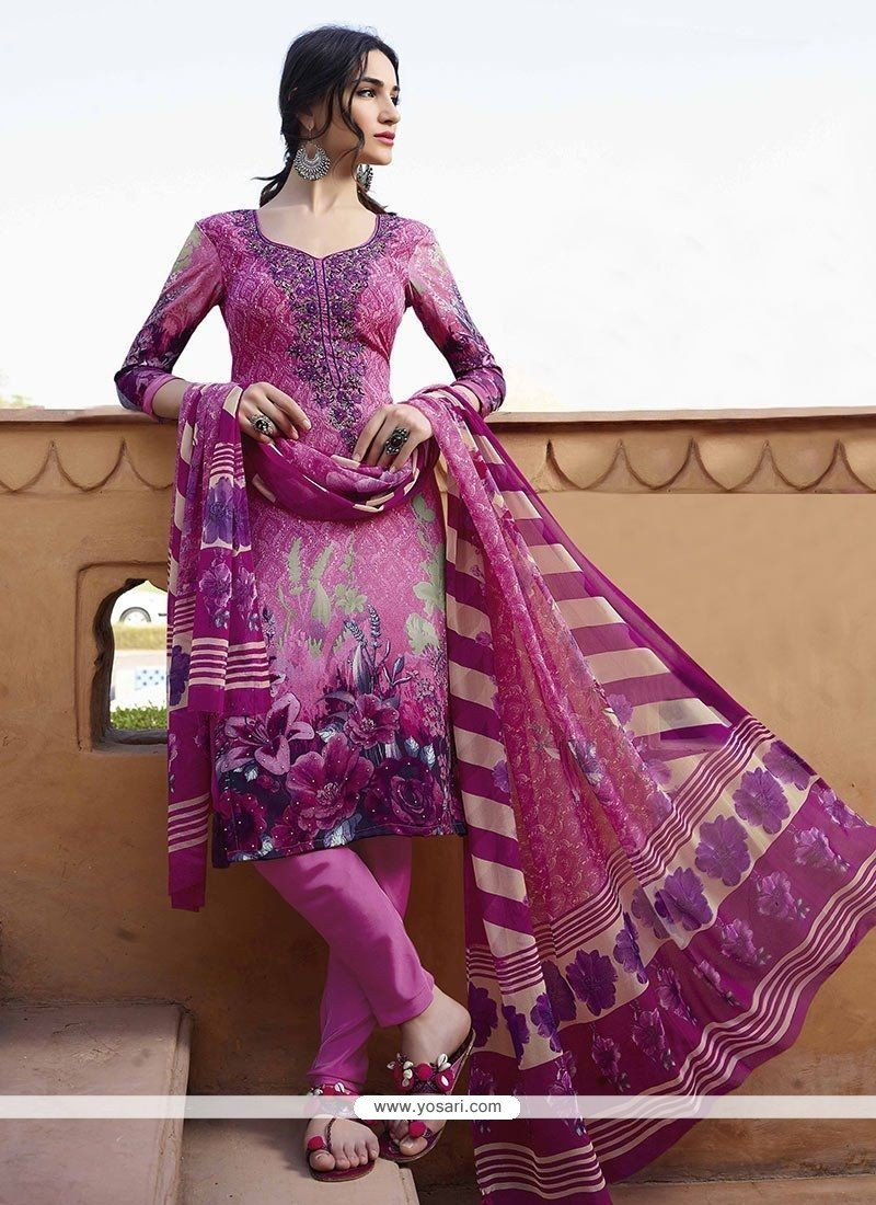 Extraordinary Print Work Churidar Designer Suit