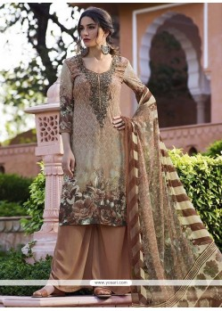 Prominent Brown Faux Crepe Designer Palazzo Suit