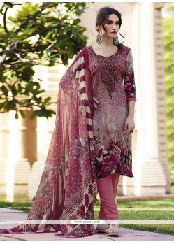 Vibrant Multi Colour Print Work Faux Crepe Churidar Designer Suit