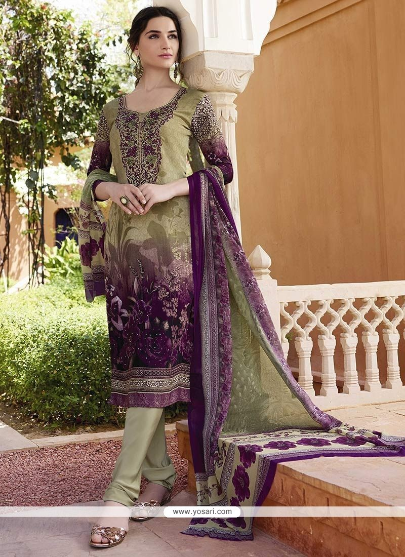 Wonderous Multi Colour Print Work Churidar Designer Suit