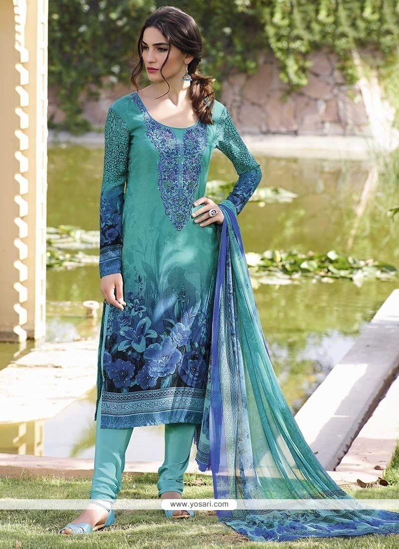 Mystic Faux Crepe Print Work Churidar Designer Suit