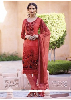 Marvelous Rose Pink Print Work Faux Crepe Churidar Designer Suit