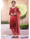 Marvelous Rose Pink Print Work Faux Crepe Churidar Designer Suit