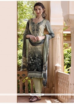Glamorous Faux Crepe Multi Colour Churidar Designer Suit