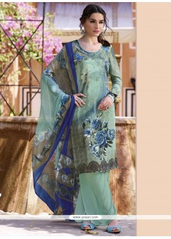 Flawless Multi Colour Print Work Faux Crepe Churidar Designer Suit