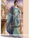 Flawless Multi Colour Print Work Faux Crepe Churidar Designer Suit