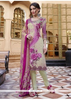 Amusing Print Work Faux Crepe Multi Colour Churidar Designer Suit