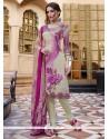 Amusing Print Work Faux Crepe Multi Colour Churidar Designer Suit