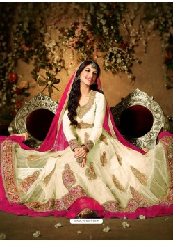 Cream And Pink Net Anarkali Suit