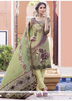 Striking Print Work Multi Colour Faux Crepe Churidar Designer Suit