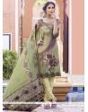 Striking Print Work Multi Colour Faux Crepe Churidar Designer Suit