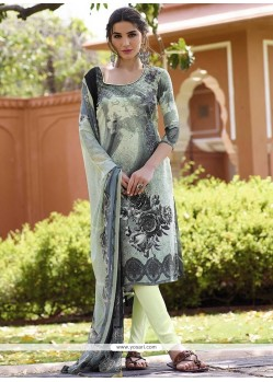 Voguish Print Work Faux Crepe Multi Colour Churidar Designer Suit