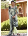 Voguish Print Work Faux Crepe Multi Colour Churidar Designer Suit