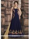 Genius Zari Work Navy Blue Faux Georgette Floor Length Anarkali Suit