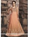 Angelic Resham Work Orange Net Floor Length Anarkali Suit