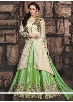 Affectionate Art Silk Cream And Green Floor Length Anarkali Suit