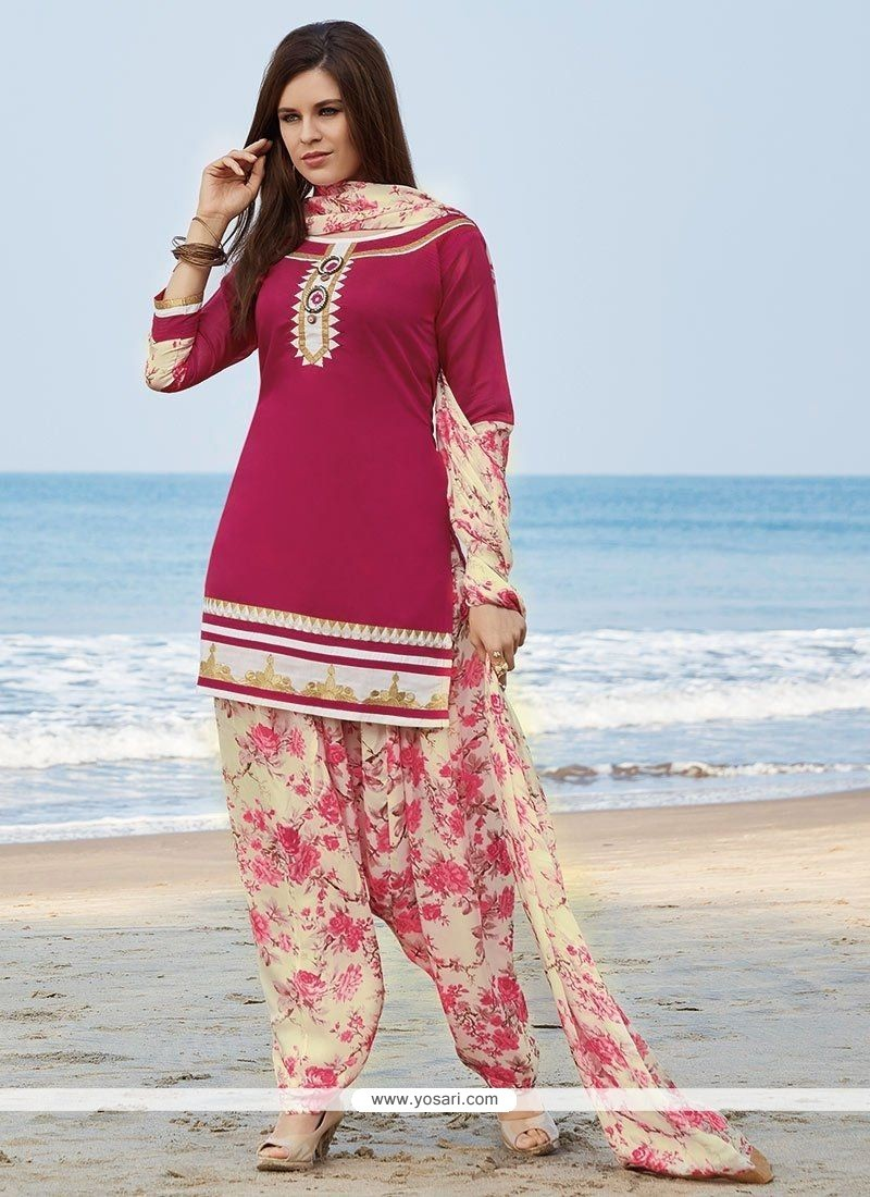 Embroidered Chanderi Readymade Suit In Magenta