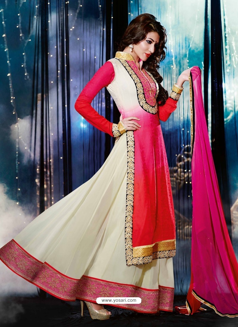 Cream And Red Georgette, Jacquard Anarkali Suit